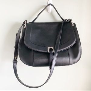 Ivanka Trump / Black Claudia Satchel Saddle Bag